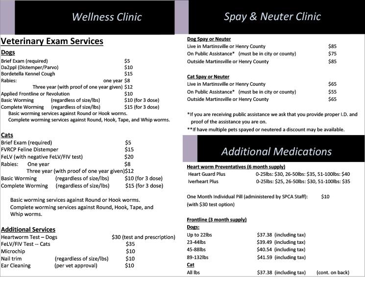 Wellness Clinic Price List